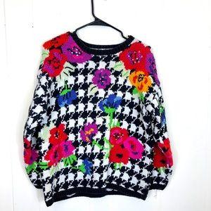 Vintage Houndstooth Floral Embroidered Sweater